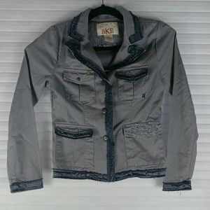 BKE Gray Embroidered Accent Buttoned Jacket S